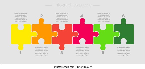 Six pieces puzzle squares diagram. Squares business presentation infographic. 6 steps, parts, pieces of process diagram. Section compare banner. Jigsaw puzzle info graphic. Marketing strategy.