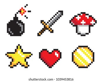 Six pixel icons colorful vector illustration, sword and cannonball, amanita and heart, golden star and coin, pixel collection, isolated on white