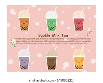 Six plastic cups of variety flavor sweet brown sugar bubble milk tea or boba tea in cute smile funny cartoon face. Trendy beverage. Illustration vector design on pastel pink background with copy space