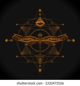 Six pointed star, all seeing eye and dragonfly. Sacred geometry for tatoo art and print t shirt. Unalome. Boho chic.