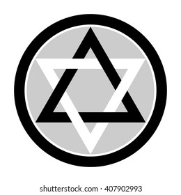 Six pointed star in black and gray colors