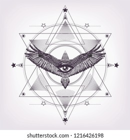 Six pointed star with flying bird and all seeing eye.Masonic symbol.Print for t shirt and tattoo art.Sacred geometry with eagle and eye of providence.Black and white pattern. Esoteric, alchemy, occult