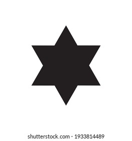 six pointed star icon isolated on white