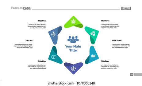 Six points process chart template. Business data visualization. Project, idea, analytics, management or marketing creative concept for infographic, report, project layout.