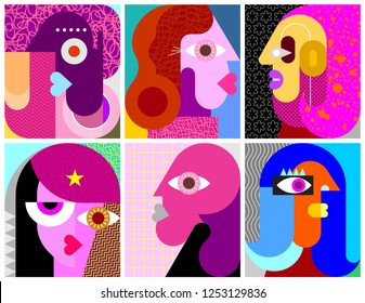 Six Portraits modern art vector illustration. Composition of six different abstract faces.