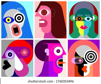 Six Portraits modern art vector illustration. Composition of six different abstract images of human face.