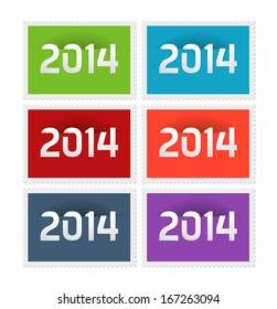 Six postage stamps with the year 2014, vector illustration