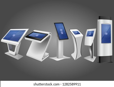 Six Promotional Interactive Information Kiosk, Advertising Display, Terminal Stand, Touch Screen Display. Mock Up Template.