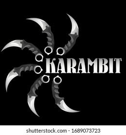 """six realstic karambits around the word """"karambit"""""""