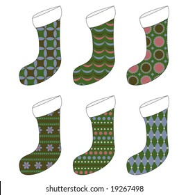 Six retro-styled Christmas stockings - color coordinated