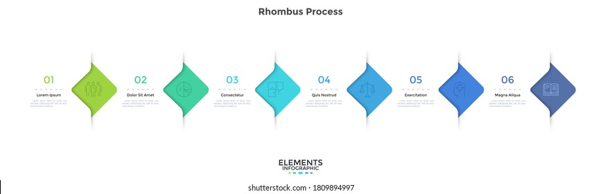 Six rhombus elements placed in horizontal row. Concept of 6 successive steps of business development progress. Modern infographic design template. Simple flat vector illustration for presentation.
