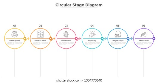Six round elements arranged in horizontal row and connected by arrows. Concept of 6 successive stages of business development. Infographic design template. Flat vector illustration for progress bar.