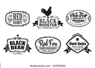 Six scalable old school retro vintage labels