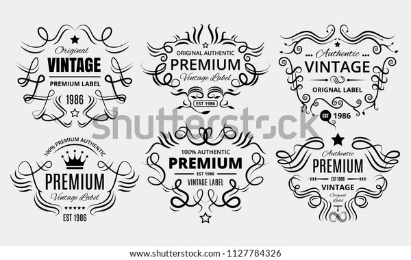 Six scalable old school retro vintage labels.