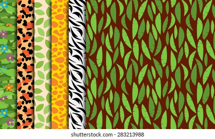 Six Seamless, Tileable Jungle or Zoo Animal Themed Vector Background Patterns