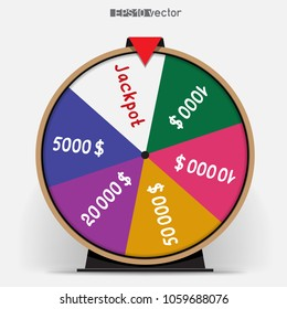 Six segmentation fortune wheel lottery object. Gamble jackpot prize spin with shadow. Round drum casino money game