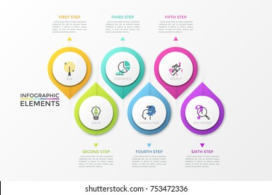 Six separate colorful pointed circular elements with thin line symbols inside and arrows pointing at text boxes. Creative infographic design template. Vector illustration for presentation, website.