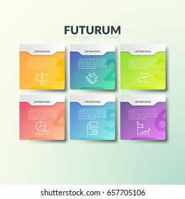 Six separate multicolored rectangular elements with numbers, thin line icons and place for text. Concept of 6 business options to choose. Futuristic infographic design template. Vector illustration.