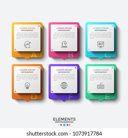 Six separate rectangular elements or cards with thin line icons and place for text inside. Concept of 6 features of services provided by company. Infographic design template. Vector illustration.