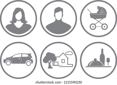 Six service icons for online store. Vector