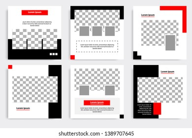 Six set editable minimal square banner template. Black and red background color geometric shape. Suitable for social media post and web/internet ads promotion. Vector illustration with photo college.