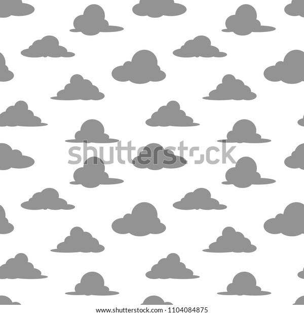 six shapes of grey cloud cartoon object seamless pattern on white background, vector illustrator