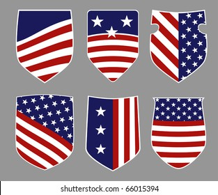 Six shields in american flag style