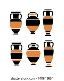 Six silhouette of antique greek and roman amphoras and vases. Black and orange. Vector illustration, isolated.