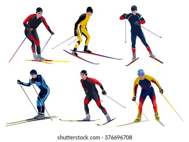 Six skiers isolated on white background