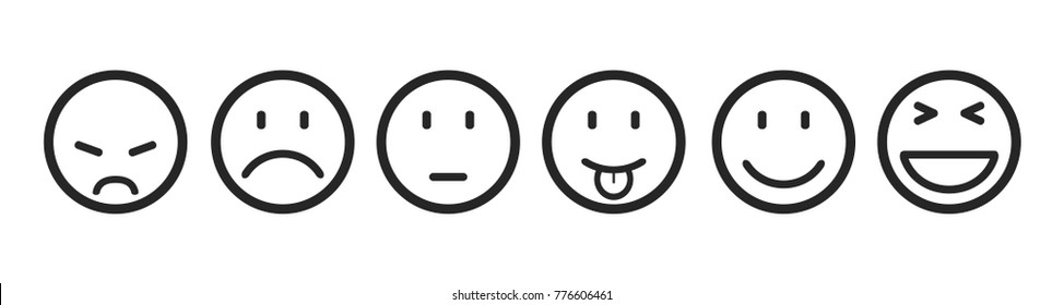 Six smilies, set smiley emotion, by smilies, cartoon emoticons - stock vector