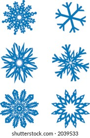 six snowflakes scalable to any size