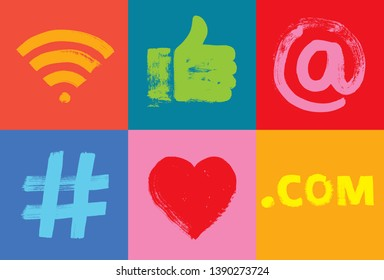 Six Social Media Symbols, Happy, Grunge Texture, Colorful, Illustration, Happy, Instagram Followers, Facebook likes, Like Hand, Google, LinkedIn, Millennial,  Hashtag, posts, Fun, At symbol, Media