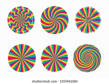 Six spiral and swirl motion twisting circles design. Colorful cyclone sweet candy radial pattern background. Vortex starburst spiral swirl. Helix rotation rays. Vector rainbow stripes. sun light beams