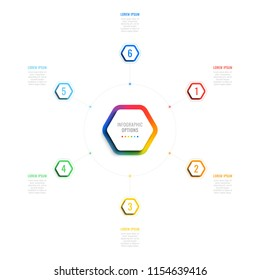 six steps 3d infographic template with hexagonal elements. business process template with options for brochure, diagram, workflow, timeline, web design