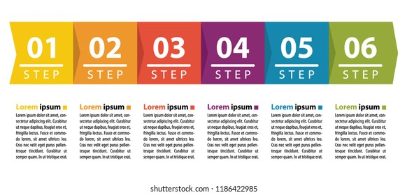 Six steps colorful infographic with numbers