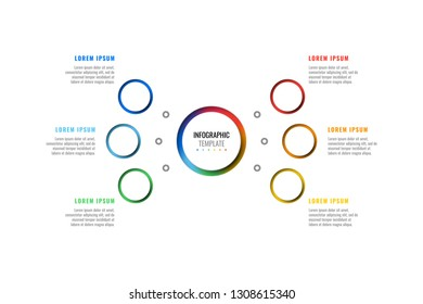 six steps design layout infographic template with round 3d realistic peper cut elements. process diagram for brochure, annual report, poster, banner. eps 10