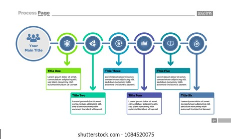 Six steps process chart slide template. Business data. Flowchart, diagram, design. Creative concept for presentation, report. Can be used for topics like strategy, planning,, startup