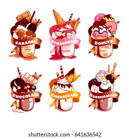 Six stickers with ribbon and different milkshakes. Vector illustration isolated on a white background.