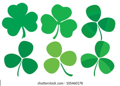 Six stylized clovers isolated on white background