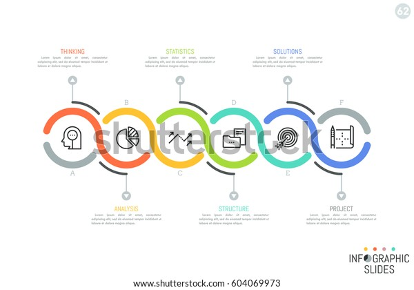 Six Successively Connected Lettered Round Elements Stock Vector