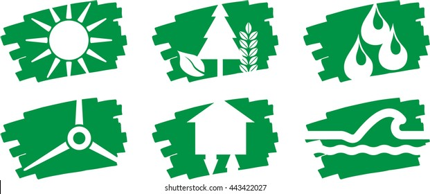 Six symbols of renewable energy on green brushstrokes