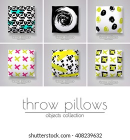 Six throw pillows with various covers. Scandinavian style cushion design.