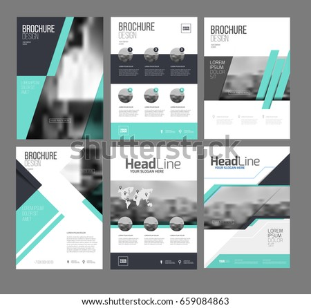 Six Trendy Brochures Templates Photo Text Stock Vector Royalty Free