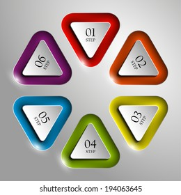 Six triangle buttons and text areas in the elevator for a business presentation (info graphics)