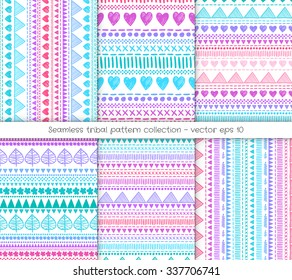 Six tribal geometric pattern background collection. Hand-drawn Aztec creative illustrations with gradient color effect.