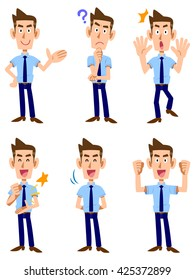 Six types of gesture and facial expression of a man who was wearing a short-sleeved shirt and tie