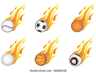 Six types of sports and open flame. On a white background
