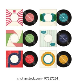 Six vector retro styled vinyl record sleeves with records, on a white background with a worn effect