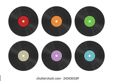 six vinyl discs on white background, isolated