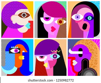 Six Womens Faces modern art vector illustration. Composition of six different abstract portraits.